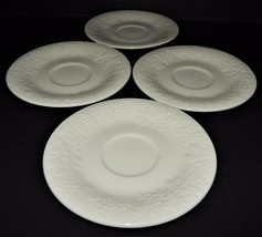 4 Gibson Four Seasons Saucers White Embossed Grapes Roses Fruit Rimmed  - $29.69