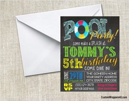 Pool  Swimming Chalkboard Birthday Party Invitations Personalized Custom - $0.99+