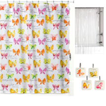 Butterfly Theme Shower Curtain Set with Decorative Hooks and Liner for Bathroom - $49.01