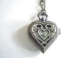 Quartz Pocket Watch Necklace Heart Shape Battery Included New - $19.75