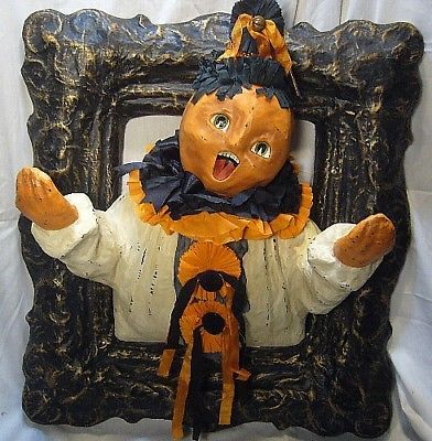 Bethany Lowe Framed Halloween Pumpkin Head Clown