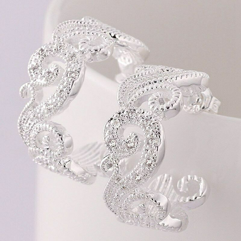 Primary image for Scroll with CZ Stones Loop Earrings 925 Sterling Silver NEW