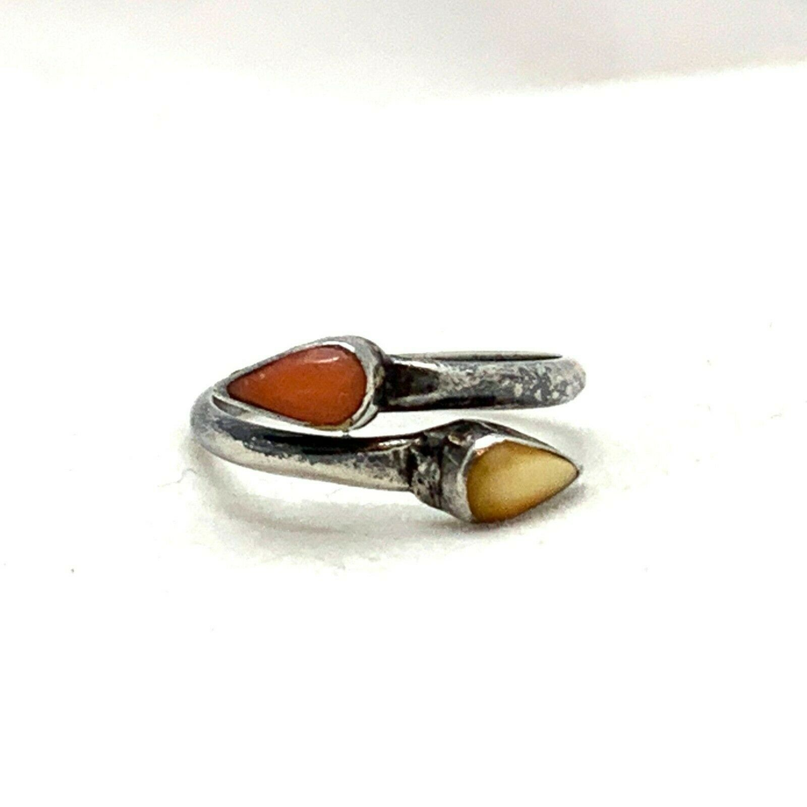 Mother of Pearl & Carnelian Silver Ring, Yellow MOP Red Orange Wrap Around Tear  - $42.08