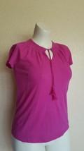 Lauren Ralph Lauren Embroidered Pink Hibiscus Keyhole Women Casual Top X... - $22.23