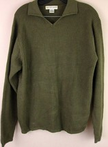Saks Fifth Avenue Sweater Small 100% Silk Green Ribbed Collared Shirt Me... - $25.05