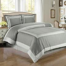 Hotel Gray/Light-Gray Egyptian Cotton Duvet Cover Set Full/ Queen (3PC) - $81.69