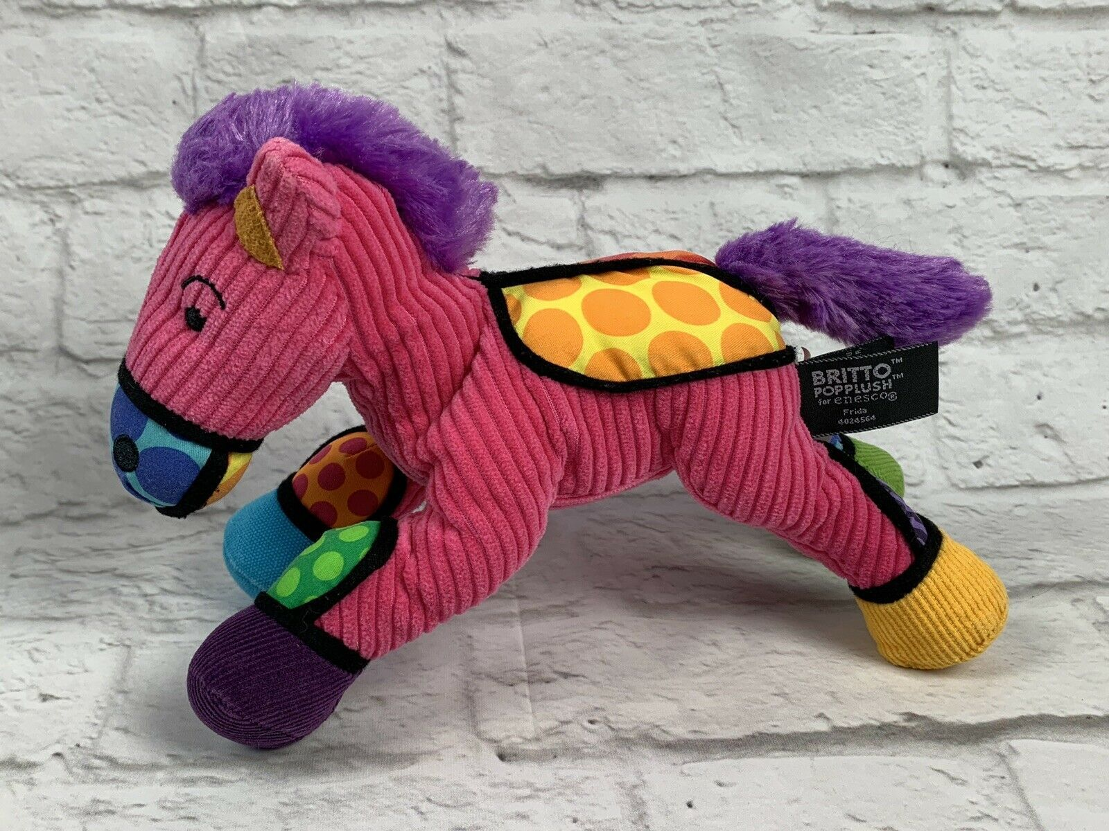BRITTO POPPLUSH Pink Corduroy POP ART Frida the HORSE Plush Stuffed Animal 11""