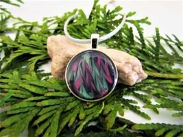 Shimmer Marble Resin Pendant, Pink Green Black, Wearable Resin Art - $12.99