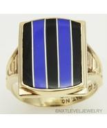 Antique Art Deco RARE Lapis & Onyx Intarsia Inlay 10k Solid Gold Men's Ring - $737.55