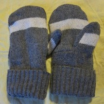 Recycled Wool Ladies Smoke Gray/White Fleece Lined  Mittens Size M/L - $13.86