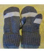 Recycled Wool Ladies Smoke Gray/White Fleece Lined  Mittens Size M/L - $13.44