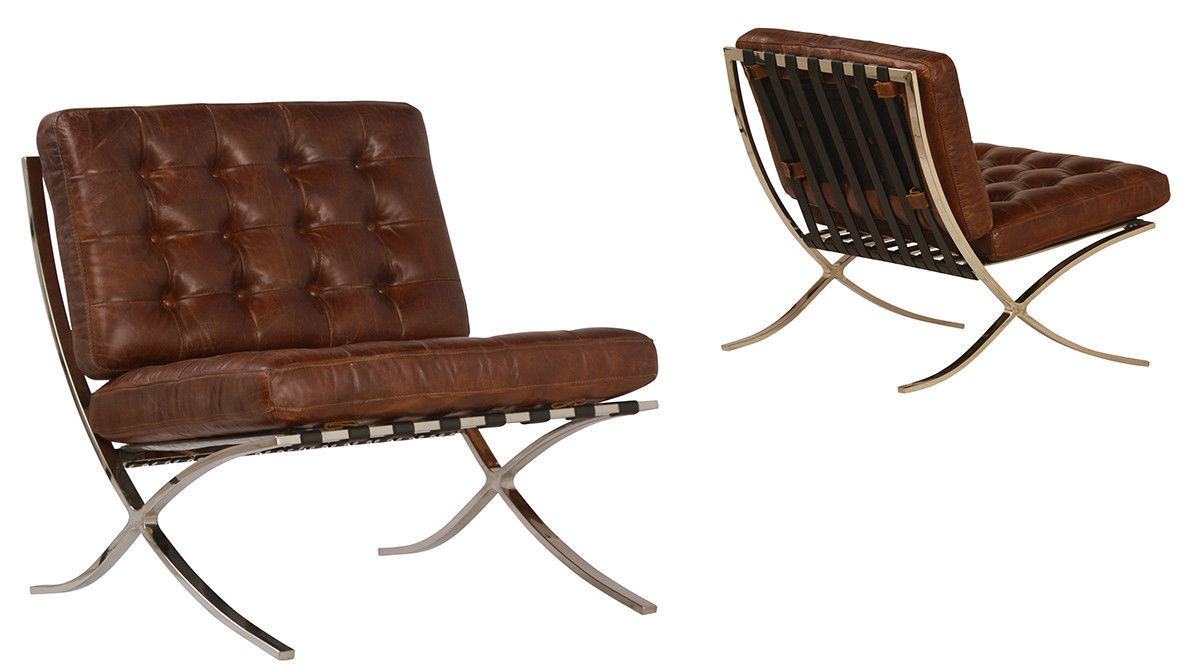 Cigar Brown Top Grain Leather Lounge Chair Contemporary Stainless Steel, 30''L