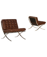 Cigar Brown Top Grain Leather Lounge Chair Contemporary Stainless Steel,... - $1,183.05