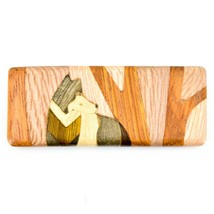 Northwoods Wooden Parquetry Rustic Standing Wolf in Woods Design Magnet Tile