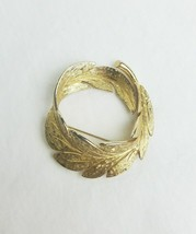 Vintage Monet leaf brooch pin gold tone signed - $19.80