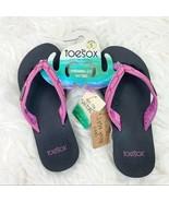 Toesox Women's Serena Five Toe Flip Flop Sandal Size 5 Black Purple NEW - $24.74