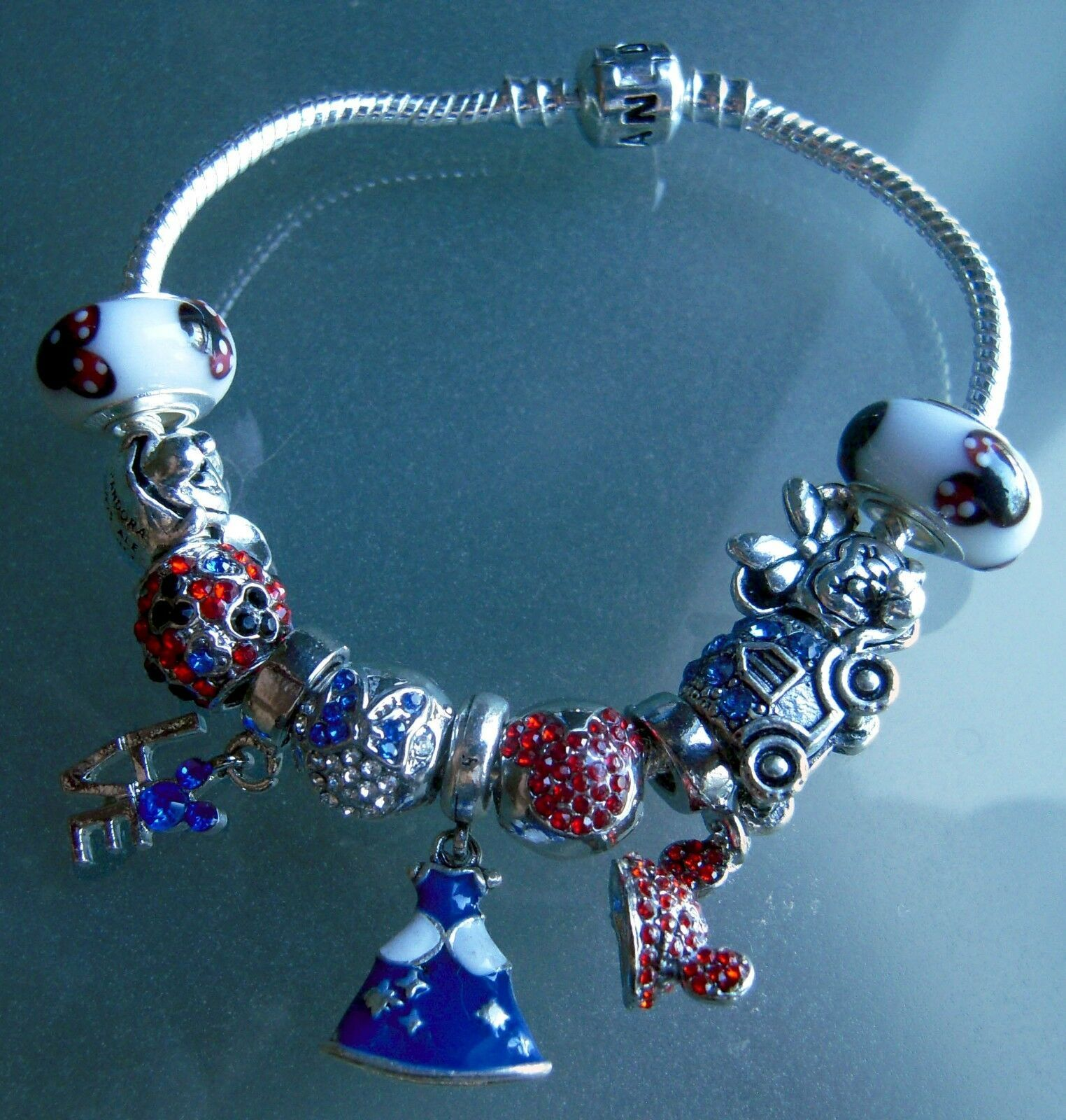 Red & Blue Mickey Mouse & Minnie Disney Cinderella Princess 11 Charms Bracelet