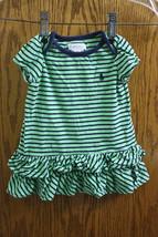 Ralph Lauren Green Striped Dress - size Girls 6M - $8.99