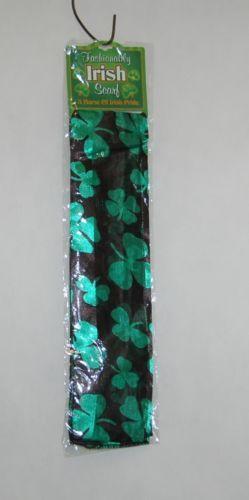 DM Merchandising StScarf24 Fashionably Irish Black Green Shamrock Scarf New
