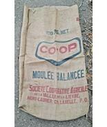 VINTAGE CO-OP BURLAP SACK BAG COOP MOULEE BALANCEE FEED SEED  - £16.98 GBP
