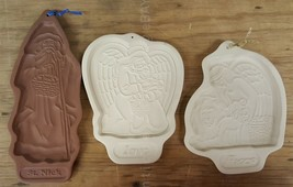 LOT of 3 LONGABERGER POTTERY christmas COOKIE MOLDS st. nick love peace ... - $24.95