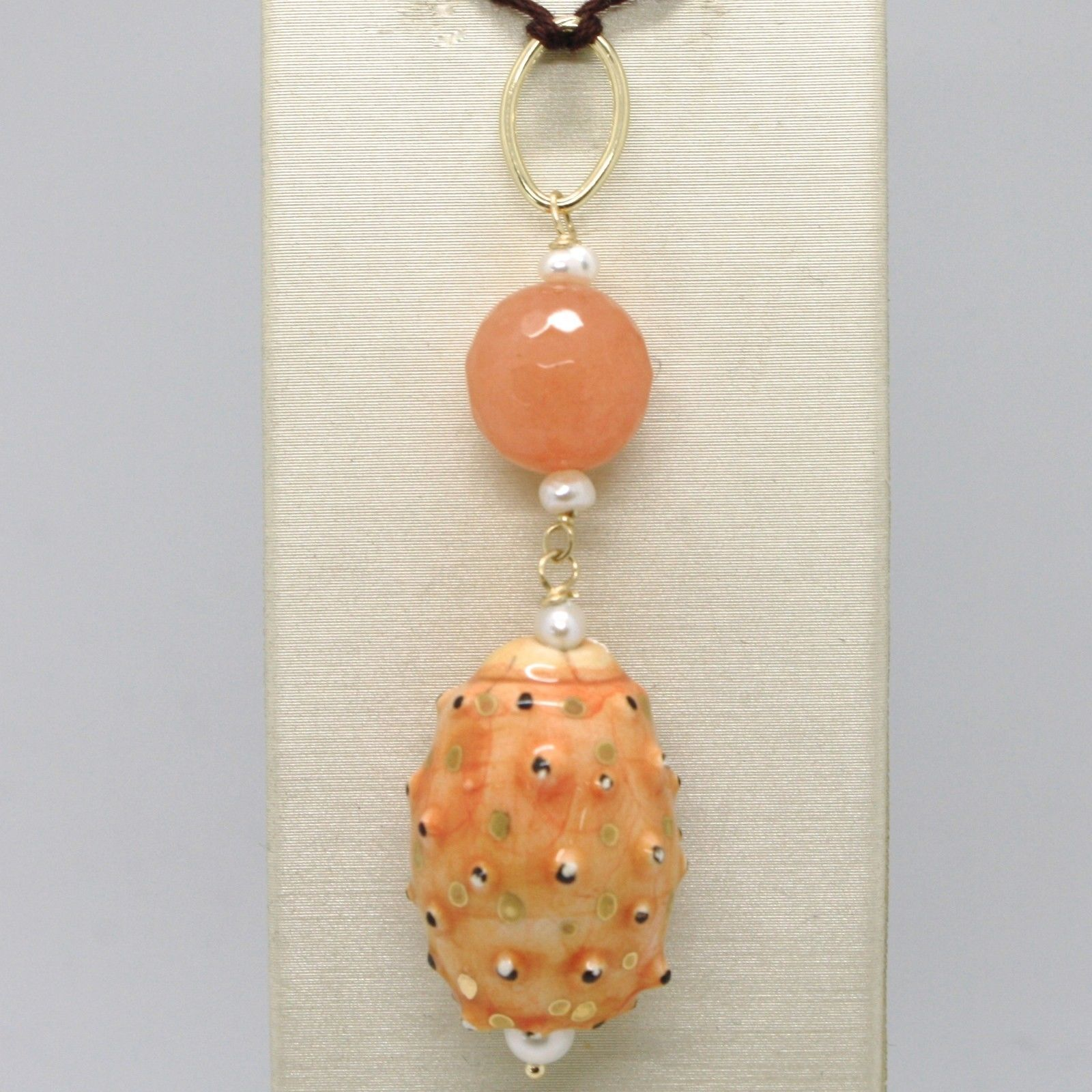 18K YELLOW GOLD PENDANT ORANGE QUARTZ CERAMIC PRICKLY PEAR HAND PAINTED IN ITALY