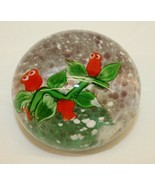 Vintage Glass Paper Weight - Dynasty Gallery Green stems red Flowers - $25.73