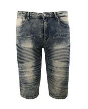 LR Scoop Men's Distressed Denim Fade Wash Slim Fit Moto Skinny Jean Shorts image 11