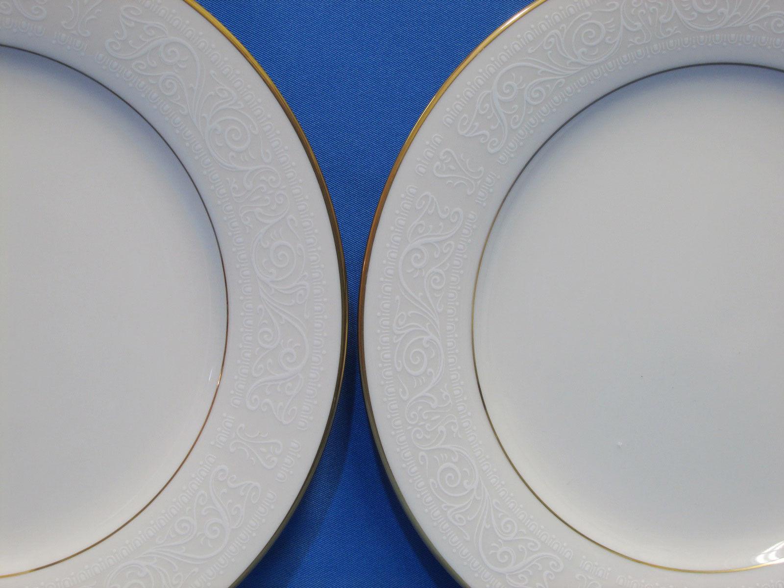2 Noritake China Tulane 7562 Salad / Dessert Plates Ivory White Scroll Gold Trim