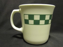 Corelle Melissa White Glass Green & White Checked Coffee Cup or Mug by C... - $3.91