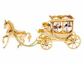 "24K Gold 5"" Horse & Stage Coach W/Swarovski Crystals Table Top Figurine - $32.66"