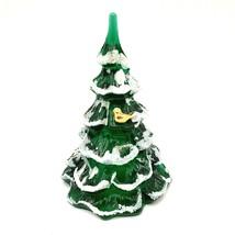 Fenton Signed Green Glass Flocked Christmas Tree Gold Bird Marilyn Wagne... - $99.95