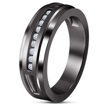 14k Black Gold Over 925 Sterling Solid Silver Mens Anniversary Diamond R... - £71.37 GBP