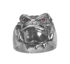 Solid Heavy Bulldog Pug Dog Jewelry Sterling silver .925 ring Ruby eyes ... - $113.20
