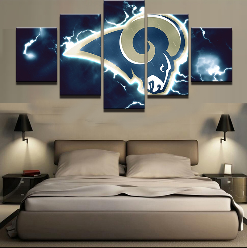 Los Angeles Home Decor: Los Angeles Rams 5 Piece Canvas Art Wall Art Picture Home