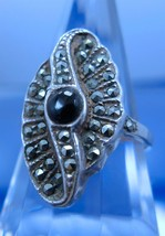 sz 6.5 Ring : Vintage Art Deco sterling 925 silver Marcasite w/ Onyx Center - $47.50