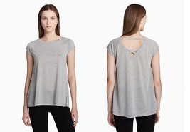 Calvin Klein Performance Cap-Sleeve V-Back Top PF8T2894 Grey Hyacinth XS... - $22.00