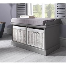 Wooden Storage Seat Cushions Hallway Bedroom Furniture Grey Bench White ... - $233.16