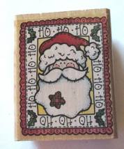 Country SANTA Portrait Rubber Stamp Ho Ho Ho Christmas Holly Leaf Wood M... - $5.93