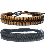 PAIR BLACK BROWN REAL LEATHER FRIENDSHIP BRACELET WRISTBAND TIE STRAP AD... - $10.71