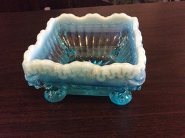 Vintage Blue/Green Square Glass Footed Candy Dish - $12.00
