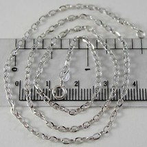 18K WHITE GOLD CHAIN MINI 2 MM ROLO OVAL MIRROR LINK 19.70 INCHES MADE IN ITALY image 1