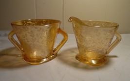 Vintage Jeannette Glass Louisa Floragold Iridescent Open Sugar and Creamer - $14.85