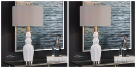 "TWO NEW 31"" GLOSS WHITE CERAMIC ACCENT TABLE LAMP BEIGE LINEN FABRIC SHA... - €301,36 EUR"