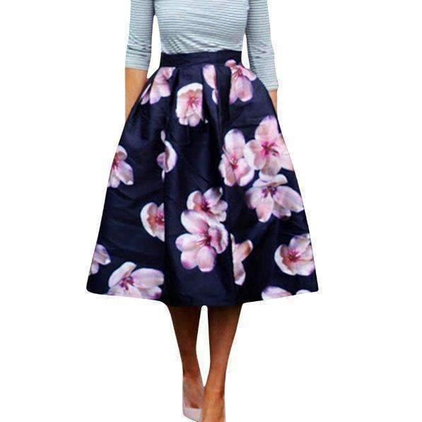 Daisy dress for less midi skirt high waist pleated floral print women skater skirt 1400347131935