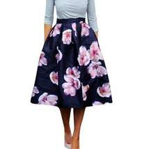 High Waist Pleated Floral Print Women Skater Skirt - $21.48
