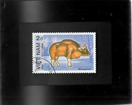 Tchotchke Framed Stamp Art - Exotic Asian Wildlife - Gaur (Indian Bison) - $7.99