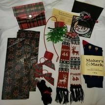 Makers Mark Christmas Swag Lot Ambassador Socks Mistletoe Tissue Scarf C... - $24.73