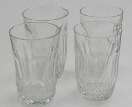 Vintage Cut Glass tumblers crosscut and facet 4 piece set - $36.47