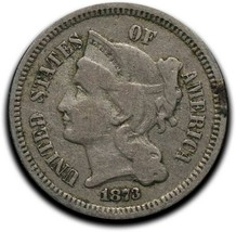 1873 Open 3 Nickel three Cent Coin Lot# A 532